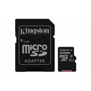 microSD Kingston 256GB micro SDXC Canvas Select 80R+Adapter