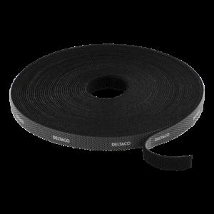 DELTACO kardborrband på rulle, bredd 9mm, 10m, svart