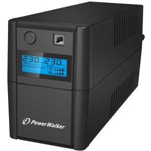 PowerWalker VI 650 SHL Schuko Linjeinteraktiv 650VA 2AC outlet(s) Torn Svart strömskydd (UPS)