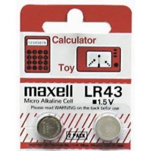 Batteri LR43 - Maxell Alkaline, 2-pack