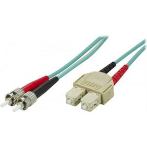 DELTACO OM3 fiberkabel ST - SC, duplex, multimode, 50/125, 15m