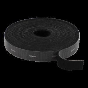 DELTACO kardborrband på rulle, bredd 20mm, 10m, svart