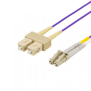 DELTACO fiberkablage, LC - SC, 50/125, OM4, duplex, multimode, 2m