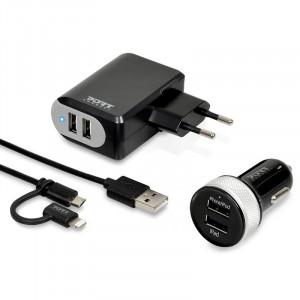 Laddare USB Adapter 3.4A Hem+Bil+Kabel 4xUSB Kit