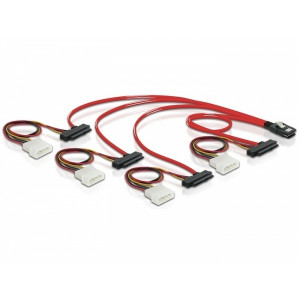 DeLOCK Cable mini SAS 36pin to 4x SAS 29pin 0.5m Röd SCSI-kablar