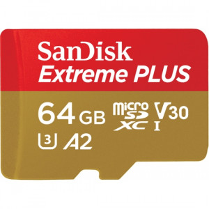 Sandisk 64GB Extreme Plus microSDXC Klass 10 flashminne
