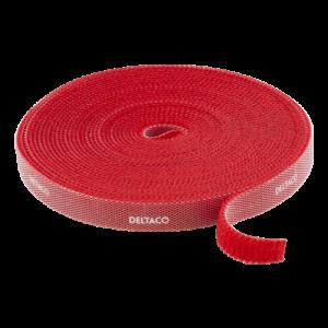 DELTACO kardborrband på rulle, bredd 9mm, 5m, röd