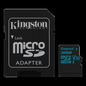 microSD Kingston 32GB micro SDHC Canvas Go 90R/45W U3 UHS-I V30 + SD Adapter
