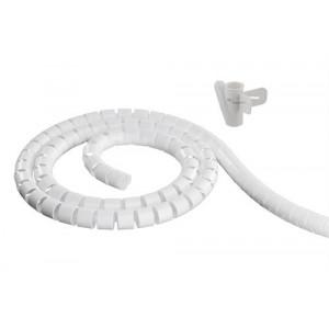 DELTACO Kabelslukare i nylon, 25mm diameter, verktyg ingår, 20m, vit