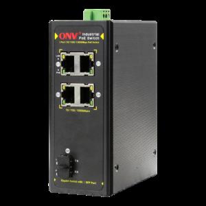 PoE-Switch Industriell, 4xRJ45, 1xSFP, IP40, 30W, 20km