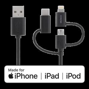 USB A till Lightning + micro USB + USB-C kabel 2m