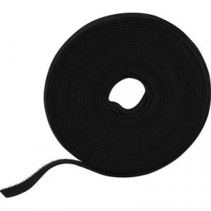 Kardborrband på rulle, bredd 9mm, 5m, svart