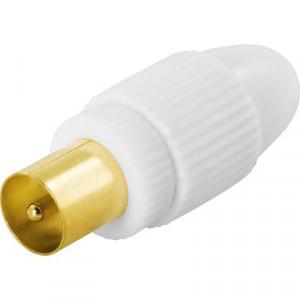 Deltaco DEL-664 1x 9.5mm M Guld, Vit kabelkontakter