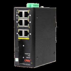 PoE-Switch Industriell, 6xRJ45, 2xSFP, 100Mbps, IP40, 30W