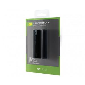 PowerBank 2600mAh GP Batteries Portable 1C02A Litium-Ion (Li-Ion) Svart