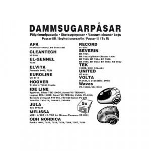 Dammsugarpåsar (5-pack) AFK / Cleantech / El-genne