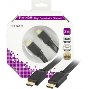 HDMI kabel 4k  3m GOLD FLAT Svart