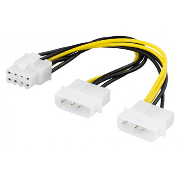 Adapter Ström 4-pin Molex x 2 - 8-pin PCI-E