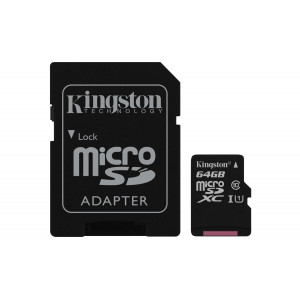 microSD - 64GB Kingston + Adapter 80MB/s