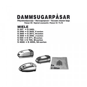 Dammsugarpåsar (5-pack) + 2 Filter - Miele