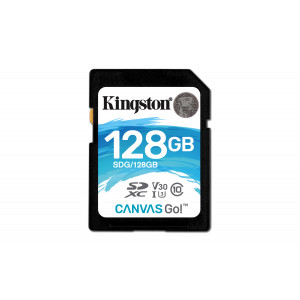 SD Card Kingston 128GB SDXC Canvas Go 90R/45W CL10 U3 V30