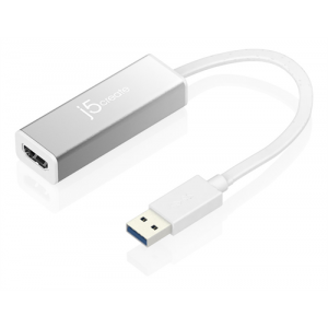 USB-Grafikkort j5create USB 3.0 till HDMI-Adapter, slim, 1080P, aluminium, vit