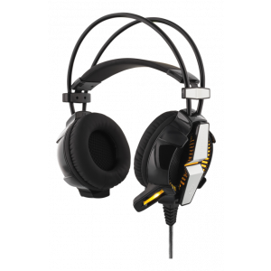 DELTACO GAMING GAM-025 vibrerande stereo headset med LED, 50mm element, svart
