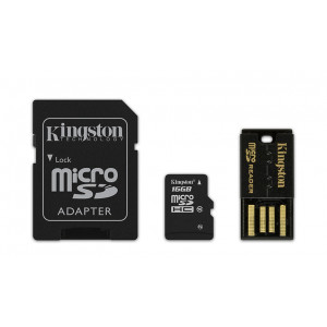 microSD - 16GB Kingston + SD+USB-Adapter