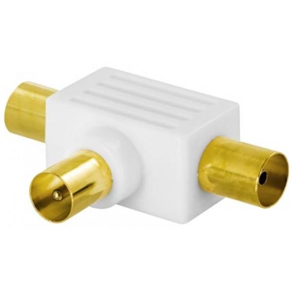 Deltaco DEL-651 kabeladaptrar 9.5mm 2x 9.5mm Vit