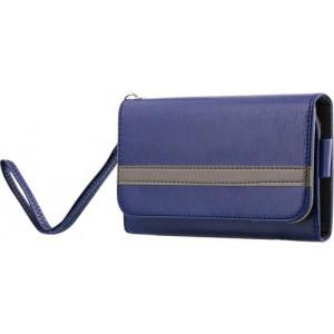 """STREETZ plånboksfodral för 4-5,1""""-smartphones, konstläder, 4 fack för kreditkort, 1 fack för sedlar, bälteshållare, halsrem, handledsrem, blå"""